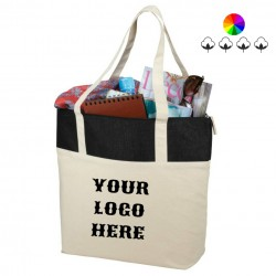 Jute and cotton zippered shopping bag