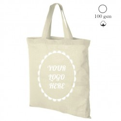 Cotton tote bag short handles, natural, 38x42 cm